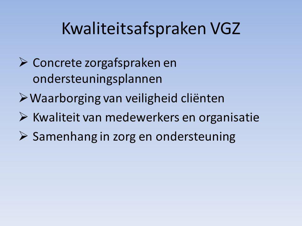 Kwaliteitsafspraken VGZ  Concrete zorgafspraken en ondersteuningsplannen  Waarborging van veiligheid cliënten  Kwaliteit van medewerkers en organisatie  Samenhang in zorg en ondersteuning
