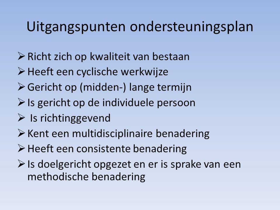 Uitgangspunten ondersteuningsplan  Richt zich op kwaliteit van bestaan  Heeft een cyclische werkwijze  Gericht op (midden-) lange termijn  Is geri