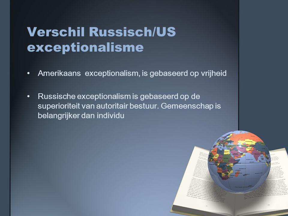 Verschil Russisch/US exceptionalisme Amerikaans exceptionalism, is gebaseerd op vrijheid Russische exceptionalism is gebaseerd op de superioriteit van