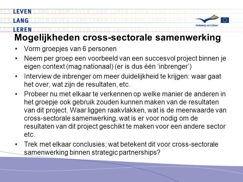 Mogelijkheden cross-sectorale samenwerking Vorm groepjes van 6 personen Neem per groep een voorbeeld van een succesvol project binnen je eigen context (mag nationaal) (er is dus één 'inbrenger') Interview de inbrenger om meer duidelijkheid te krijgen: waar gaat het over, wat zijn de resultaten, etc.