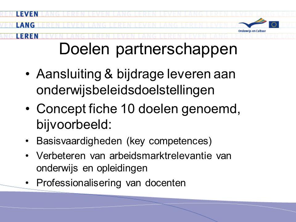 Doelen partnerschappen Aansluiting & bijdrage leveren aan onderwijsbeleidsdoelstellingen Concept fiche 10 doelen genoemd, bijvoorbeeld: Basisvaardigheden (key competences) Verbeteren van arbeidsmarktrelevantie van onderwijs en opleidingen Professionalisering van docenten