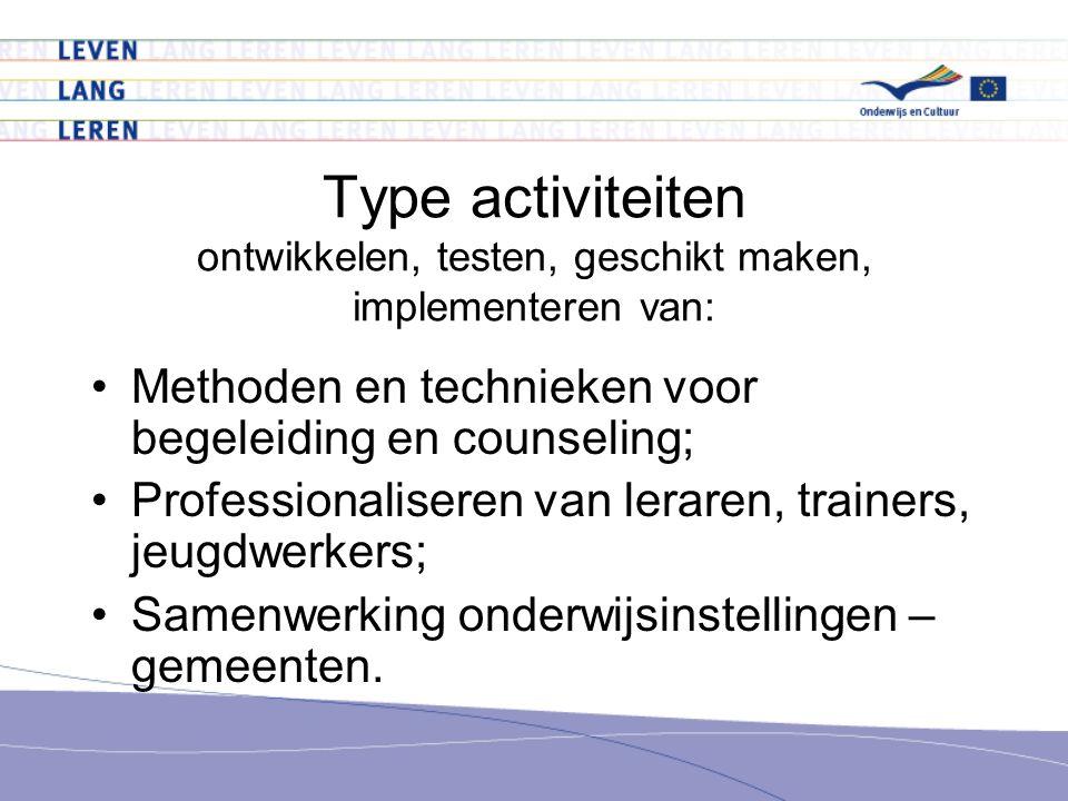 Type activiteiten ontwikkelen, testen, geschikt maken, implementeren van: Methoden en technieken voor begeleiding en counseling; Professionaliseren van leraren, trainers, jeugdwerkers; Samenwerking onderwijsinstellingen – gemeenten.