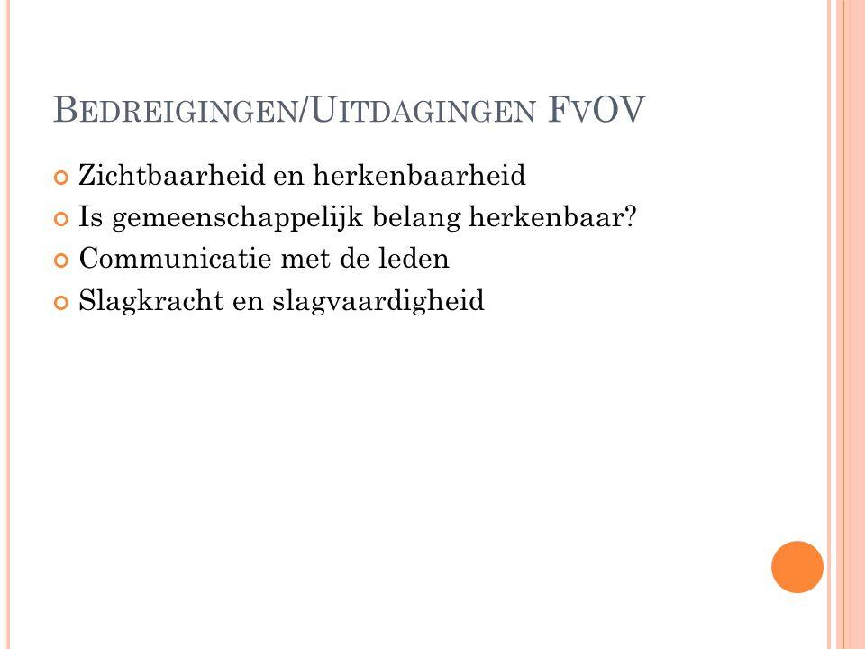 B EDREIGINGEN /U ITDAGINGEN F V OV Zichtbaarheid en herkenbaarheid Is gemeenschappelijk belang herkenbaar.