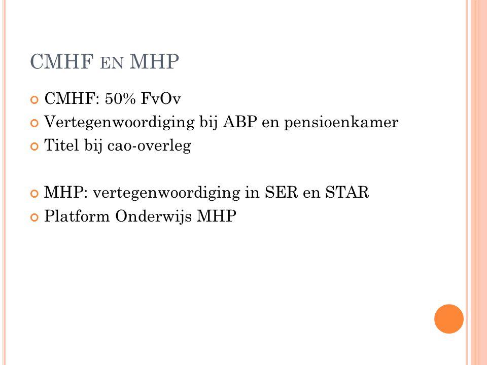CMHF EN MHP CMHF: 50% FvOv Vertegenwoordiging bij ABP en pensioenkamer Titel bij cao-overleg MHP: vertegenwoordiging in SER en STAR Platform Onderwijs MHP