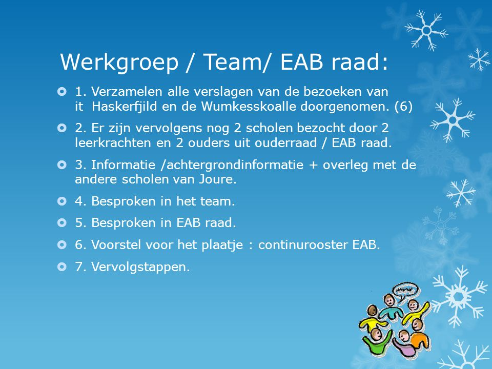 Werkgroep / Team/ EAB raad:  1. Verzamelen alle verslagen van de bezoeken van it Haskerfjild en de Wumkesskoalle doorgenomen. (6)  2. Er zijn vervol