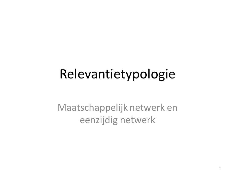 Relevantietypologie Maatschappelijk netwerk en eenzijdig netwerk 1