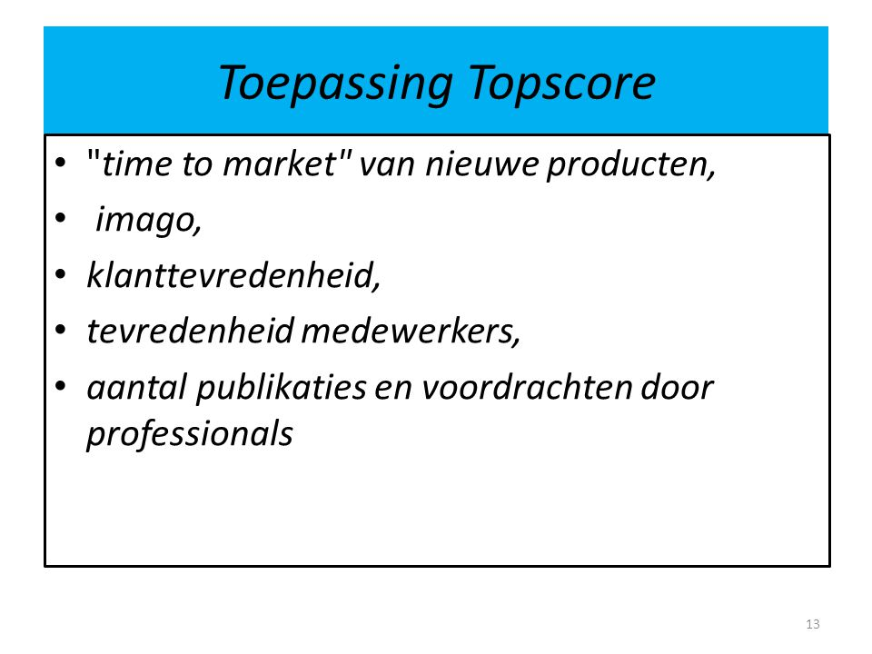 Toepassing Topscore time to market van nieuwe producten, imago, klanttevredenheid, tevredenheid medewerkers, aantal publikaties en voordrachten door professionals 13