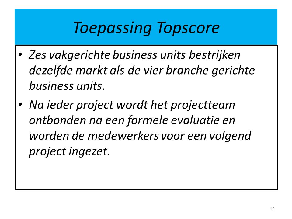 Toepassing Topscore Zes vakgerichte business units bestrijken dezelfde markt als de vier branche gerichte business units. Na ieder project wordt het p