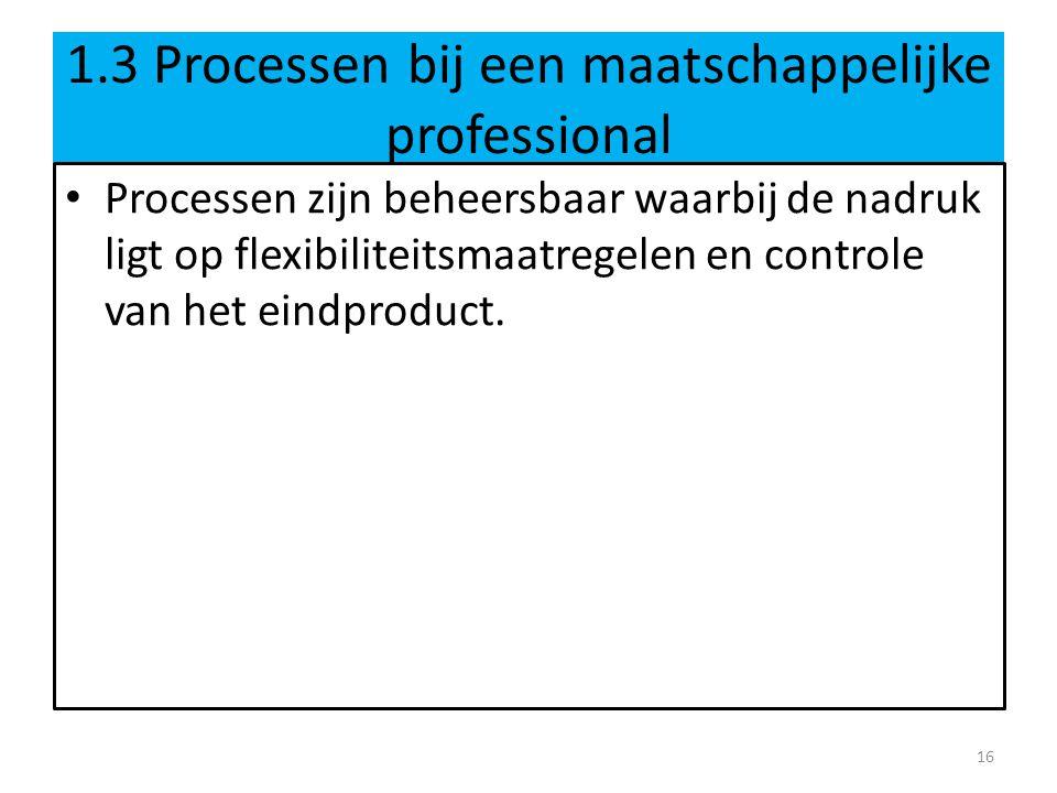 1.3 Processen bij een maatschappelijke professional Processen zijn beheersbaar waarbij de nadruk ligt op flexibiliteitsmaatregelen en controle van het eindproduct.
