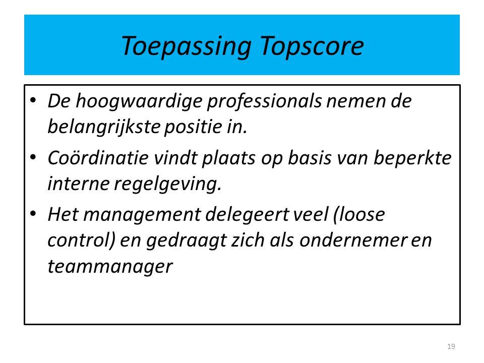 Toepassing Topscore De hoogwaardige professionals nemen de belangrijkste positie in. Coördinatie vindt plaats op basis van beperkte interne regelgevin