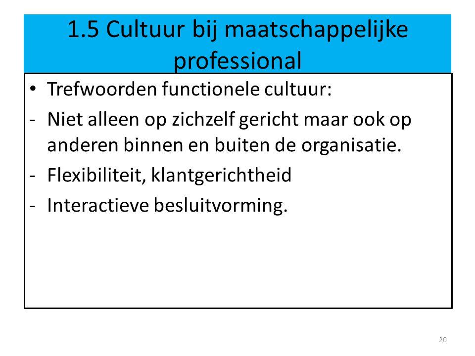 1.5 Cultuur bij maatschappelijke professional Trefwoorden functionele cultuur: -Niet alleen op zichzelf gericht maar ook op anderen binnen en buiten de organisatie.