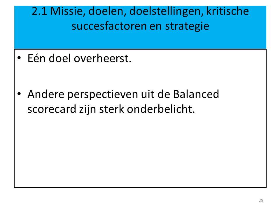 2.1 Missie, doelen, doelstellingen, kritische succesfactoren en strategie Eén doel overheerst.