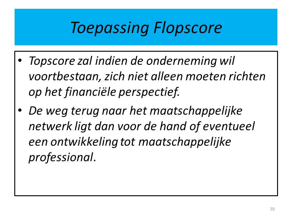 Toepassing Flopscore Topscore zal indien de onderneming wil voortbestaan, zich niet alleen moeten richten op het financiële perspectief. De weg terug