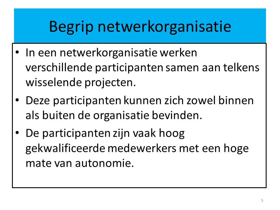 Begrip netwerkorganisatie In een netwerkorganisatie werken verschillende participanten samen aan telkens wisselende projecten.
