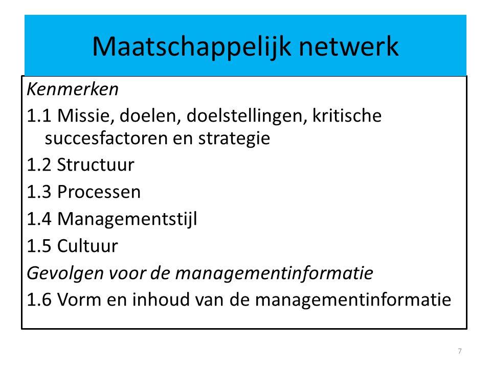 Kenmerken 1.1 Missie, doelen, doelstellingen, kritische succesfactoren en strategie 1.2 Structuur 1.3 Processen 1.4 Managementstijl 1.5 Cultuur Gevolgen voor de managementinformatie 1.6 Vorm en inhoud van de managementinformatie 7 Maatschappelijk netwerk