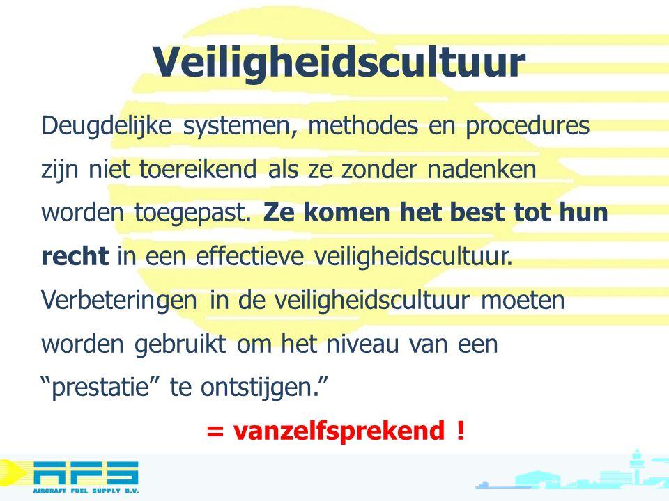 Veiligheidscultuur Deugdelijke systemen, methodes en procedures zijn niet toereikend als ze zonder nadenken worden toegepast. Ze komen het best tot hu