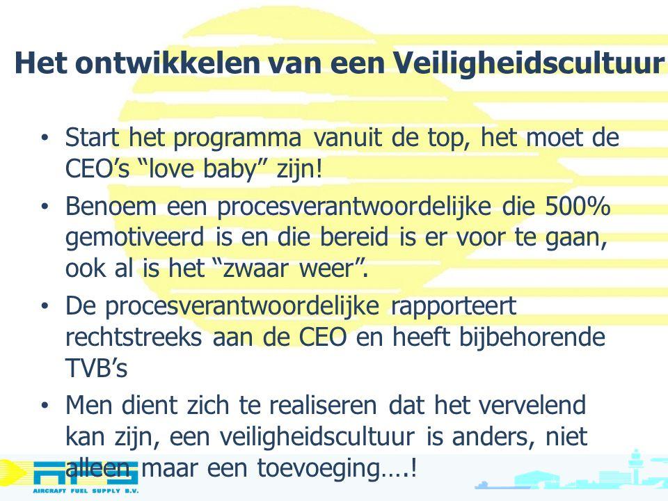 """Het ontwikkelen van een Veiligheidscultuur Start het programma vanuit de top, het moet de CEO's """"love baby"""" zijn! Benoem een procesverantwoordelijke d"""