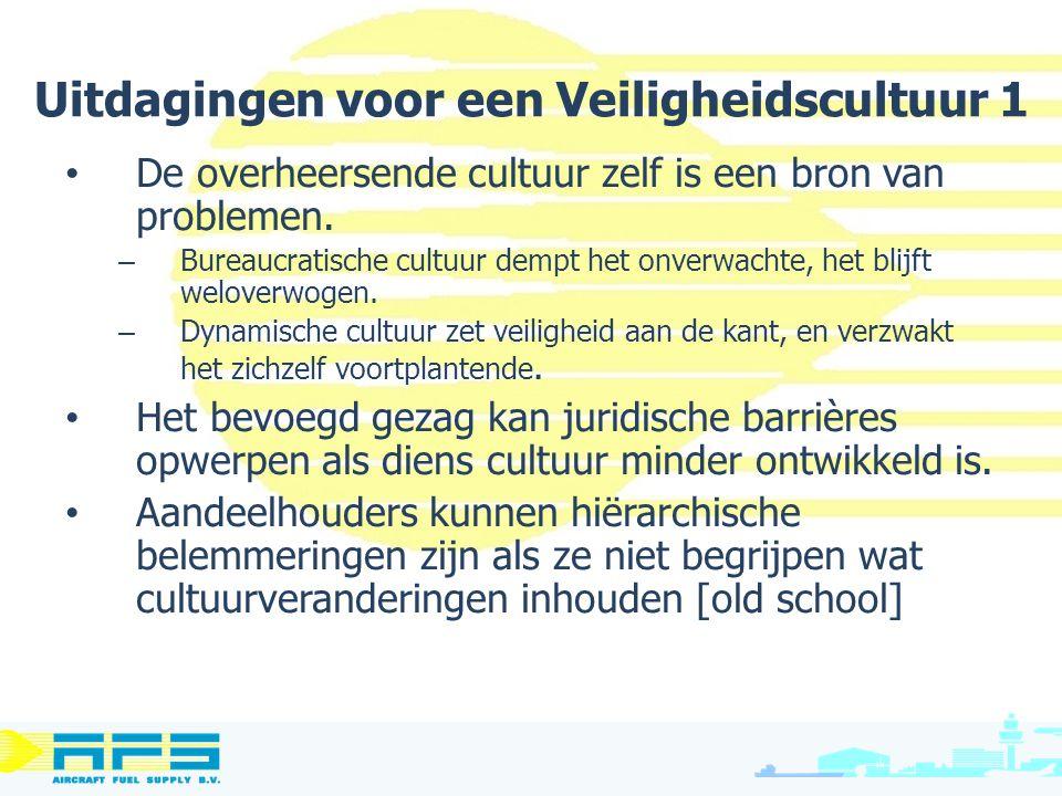 Uitdagingen voor een Veiligheidscultuur 1 De overheersende cultuur zelf is een bron van problemen. – Bureaucratische cultuur dempt het onverwachte, he