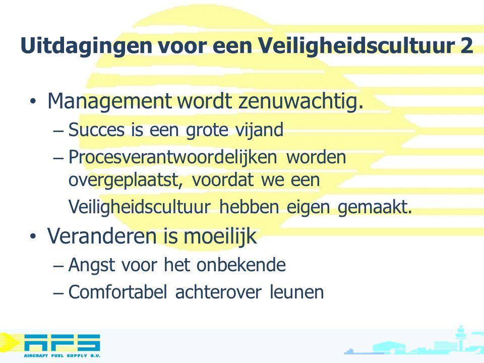 Management wordt zenuwachtig. – Succes is een grote vijand – Procesverantwoordelijken worden overgeplaatst, voordat we een Veiligheidscultuur hebben e