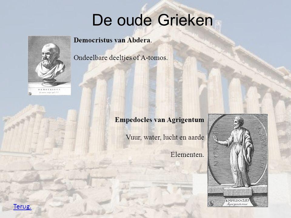 De oude Grieken Empedocles van Agrigentum Vuur, water, lucht en aarde Elementen. Democristus van Abdera. Ondeelbare deeltjes of A-tomos. Terug.