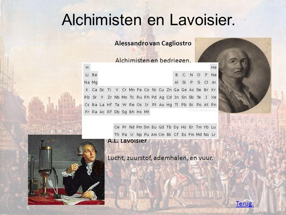 Alchimisten en Lavoisier. Alessandro van Cagliostro Alchimisten en bedriegen. A.L. Lavoisier Lucht, zuurstof, ademhalen, en vuur. Terug.