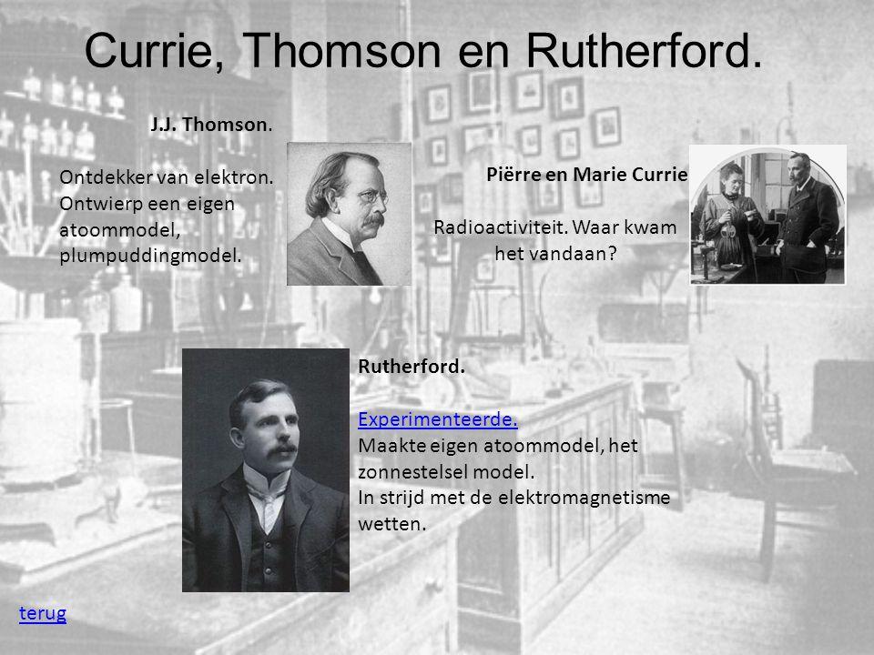 Currie, Thomson en Rutherford. terug Piërre en Marie Currie Radioactiviteit. Waar kwam het vandaan? J.J. Thomson. Ontdekker van elektron. Ontwierp een
