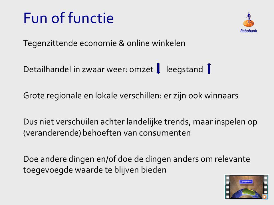 Fun of functie Tegenzittende economie & online winkelen Detailhandel in zwaar weer: omzet leegstand Grote regionale en lokale verschillen: er zijn ook