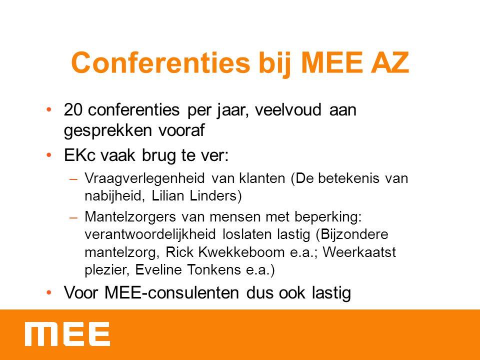 Conferenties bij MEE AZ 20 conferenties per jaar, veelvoud aan gesprekken vooraf EKc vaak brug te ver: –Vraagverlegenheid van klanten (De betekenis van nabijheid, Lilian Linders) –Mantelzorgers van mensen met beperking: verantwoordelijkheid loslaten lastig (Bijzondere mantelzorg, Rick Kwekkeboom e.a.; Weerkaatst plezier, Eveline Tonkens e.a.) Voor MEE-consulenten dus ook lastig