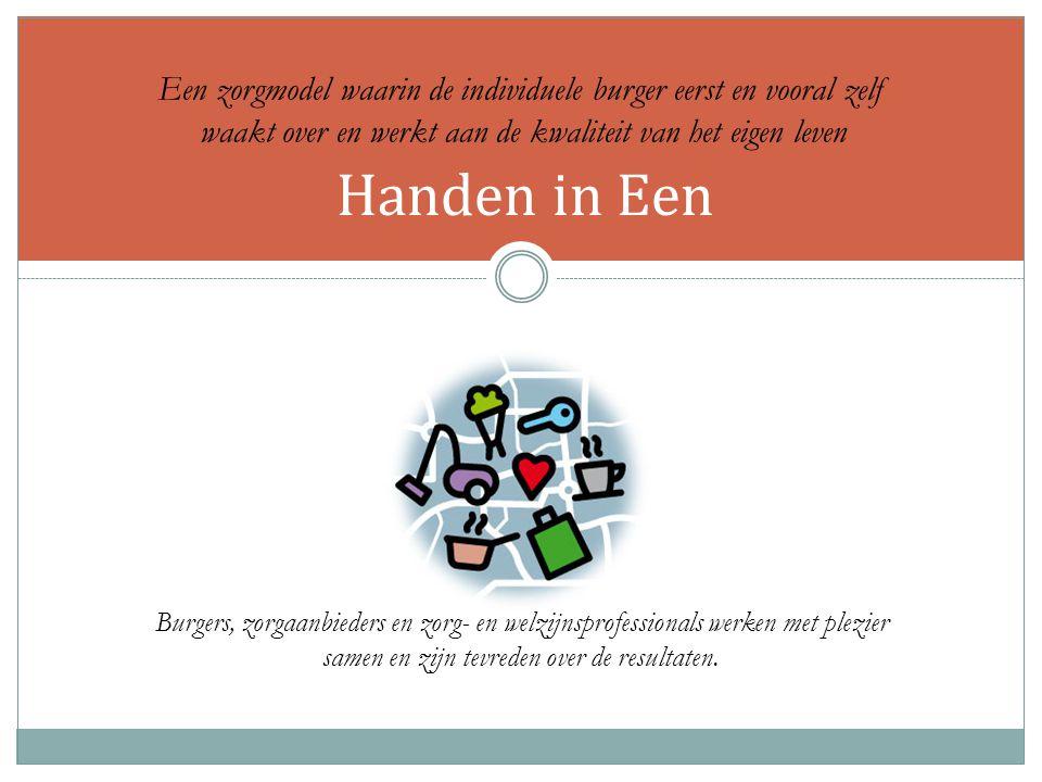 Handen in Een Burgers, zorgaanbieders en zorg- en welzijnsprofessionals werken met plezier samen en zijn tevreden over de resultaten.