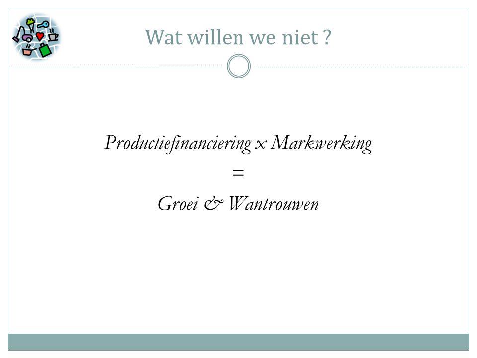Wat willen we niet Productiefinanciering x Markwerking = Groei & Wantrouwen