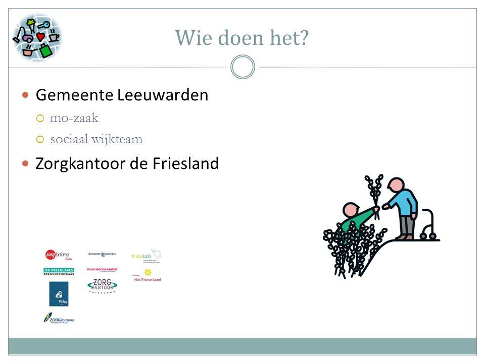 Wie doen het Gemeente Leeuwarden  mo-zaak  sociaal wijkteam Zorgkantoor de Friesland