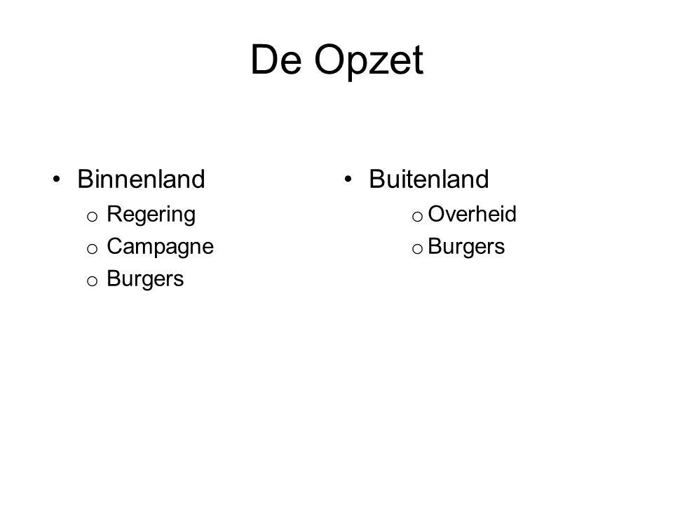 De Opzet Binnenland o Regering o Campagne o Burgers Buitenland o Overheid o Burgers