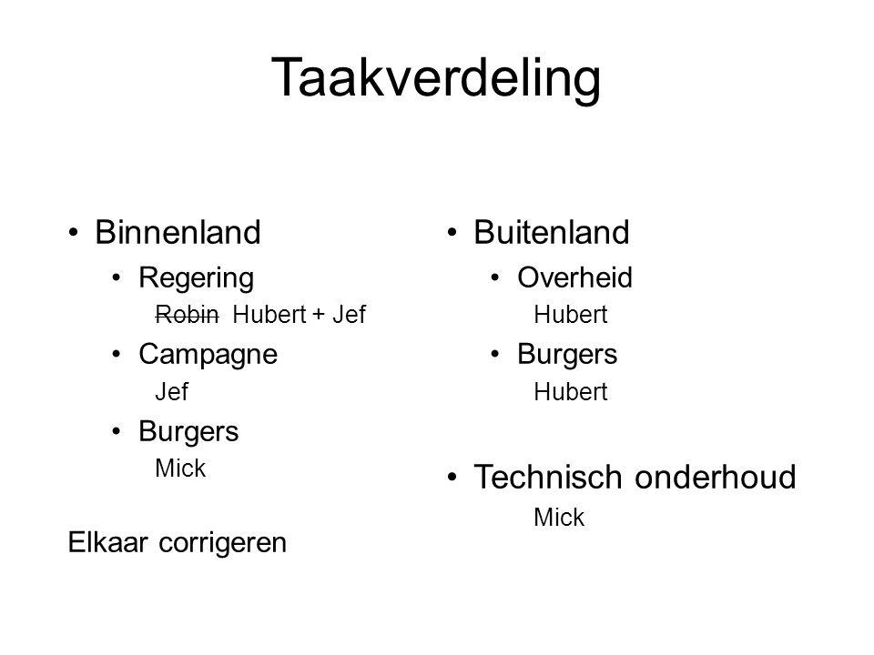 Taakverdeling Binnenland Regering Robin Hubert + Jef Campagne Jef Burgers Mick Elkaar corrigeren Buitenland Overheid Hubert Burgers Hubert Technisch o