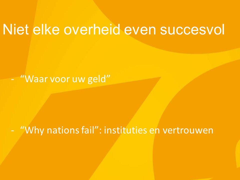 """Niet elke overheid even succesvol -""""Waar voor uw geld"""" -""""Why nations fail"""": instituties en vertrouwen"""