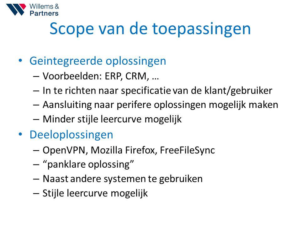 Scope van de toepassingen Geintegreerde oplossingen – Voorbeelden: ERP, CRM, … – In te richten naar specificatie van de klant/gebruiker – Aansluiting