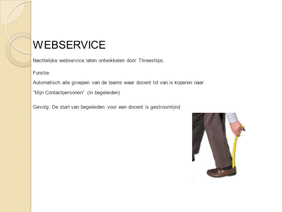 WEBSERVICE Nachtelijke webservice laten ontwikkelen door Threeships. Functie Automatisch alle groepen van de teams waar docent lid van is koperen naar