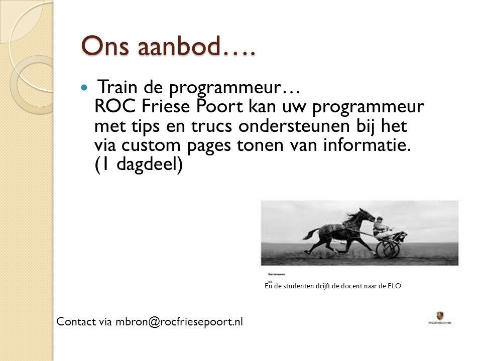 Ons aanbod…. Train de programmeur… ROC Friese Poort kan uw programmeur met tips en trucs ondersteunen bij het via custom pages tonen van informatie. (