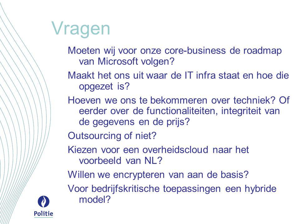 Vragen Moeten wij voor onze core-business de roadmap van Microsoft volgen? Maakt het ons uit waar de IT infra staat en hoe die opgezet is? Hoeven we o