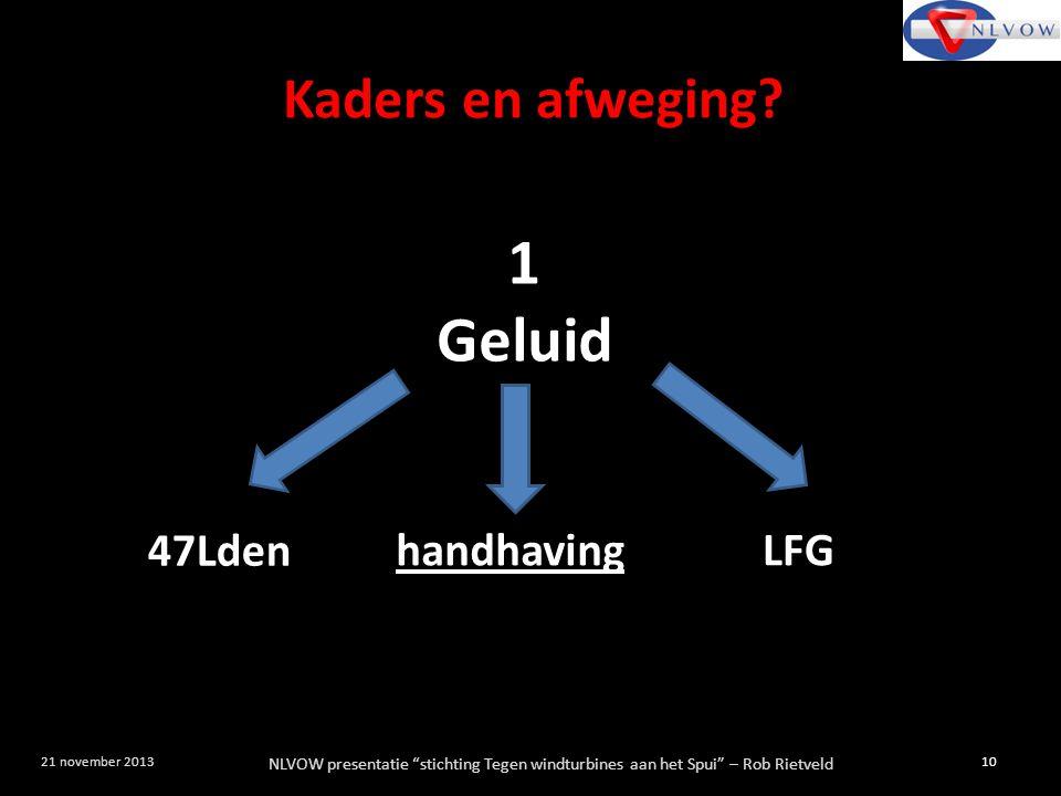 """NLVOW presentatie """"stichting Tegen windturbines aan het Spui"""" – Rob Rietveld 10 21 november 2013 1 Geluid 47Lden handhaving LFG Kaders en afweging?"""