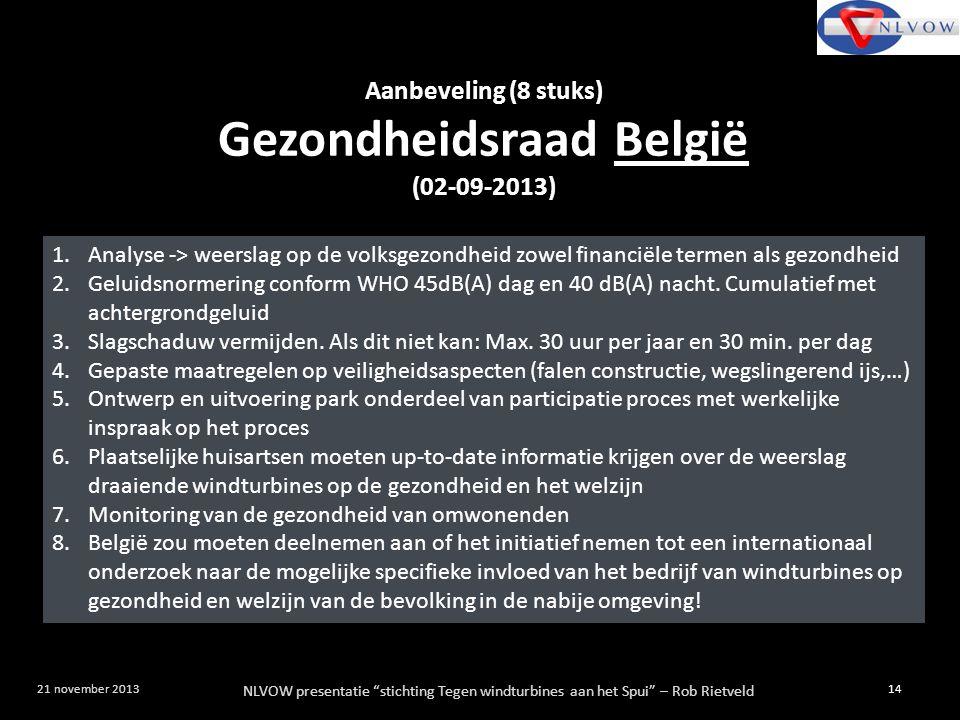 """NLVOW presentatie """"stichting Tegen windturbines aan het Spui"""" – Rob Rietveld 14 21 november 2013 Aanbeveling (8 stuks) Gezondheidsraad België (02-09-2"""