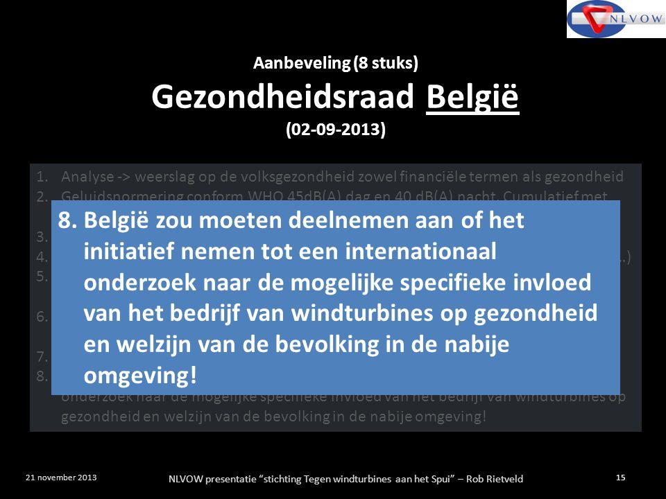 """NLVOW presentatie """"stichting Tegen windturbines aan het Spui"""" – Rob Rietveld 15 21 november 2013 Aanbeveling (8 stuks) Gezondheidsraad België (02-09-2"""