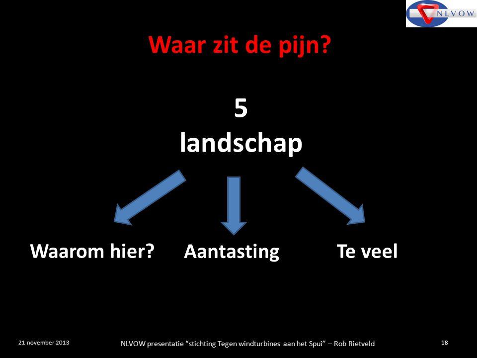 """NLVOW presentatie """"stichting Tegen windturbines aan het Spui"""" – Rob Rietveld 18 21 november 2013 5 landschap Waarom hier? Aantasting Te veel Waar zit"""