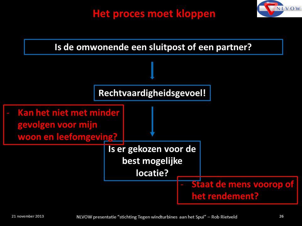"""NLVOW presentatie """"stichting Tegen windturbines aan het Spui"""" – Rob Rietveld 26 21 november 2013 Is de omwonende een sluitpost of een partner? Rechtva"""