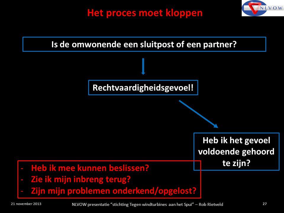 """NLVOW presentatie """"stichting Tegen windturbines aan het Spui"""" – Rob Rietveld 27 21 november 2013 Is de omwonende een sluitpost of een partner? Rechtva"""