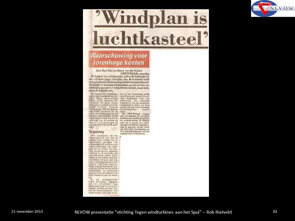 """NLVOW presentatie """"stichting Tegen windturbines aan het Spui"""" – Rob Rietveld 32 21 november 2013"""