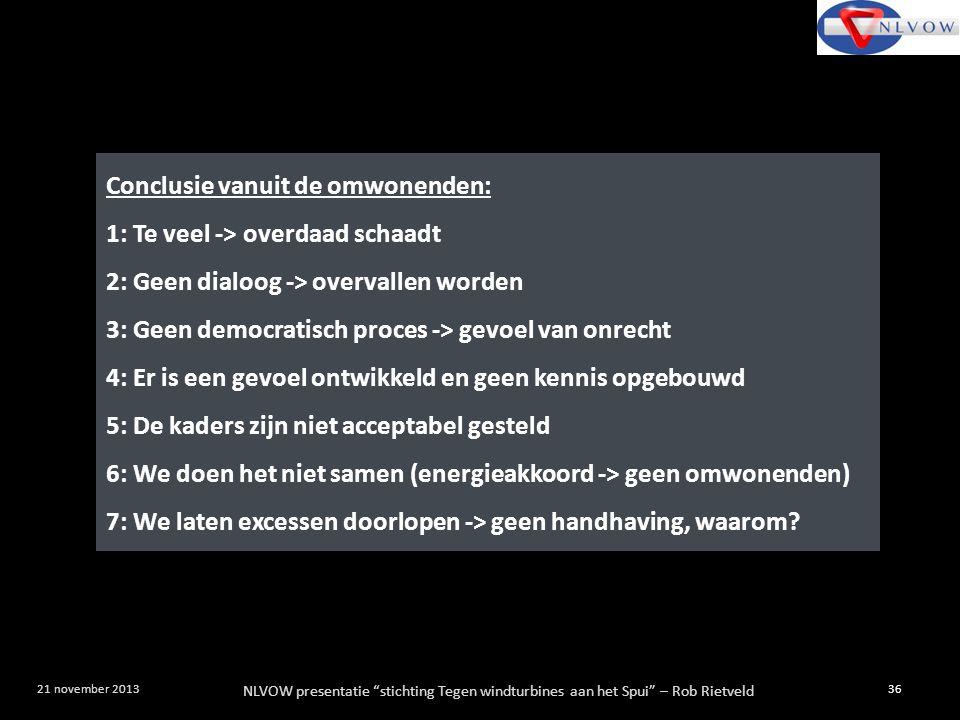 """NLVOW presentatie """"stichting Tegen windturbines aan het Spui"""" – Rob Rietveld 36 21 november 2013 Conclusie vanuit de omwonenden: 1: Te veel -> overdaa"""