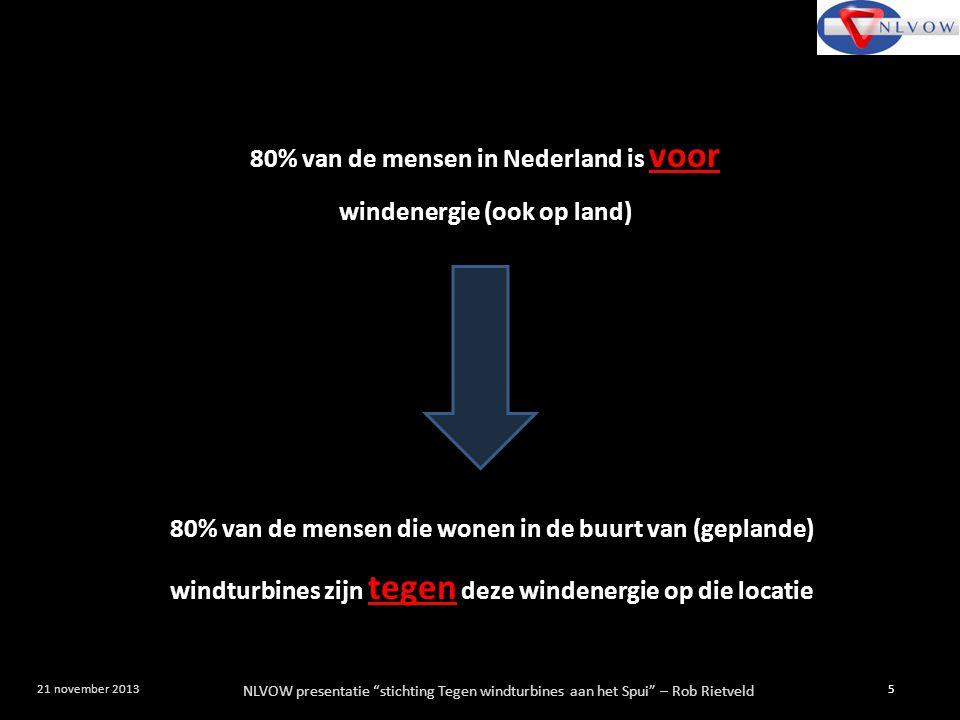 """NLVOW presentatie """"stichting Tegen windturbines aan het Spui"""" – Rob Rietveld 5 21 november 2013 80% van de mensen in Nederland is voor windenergie (oo"""