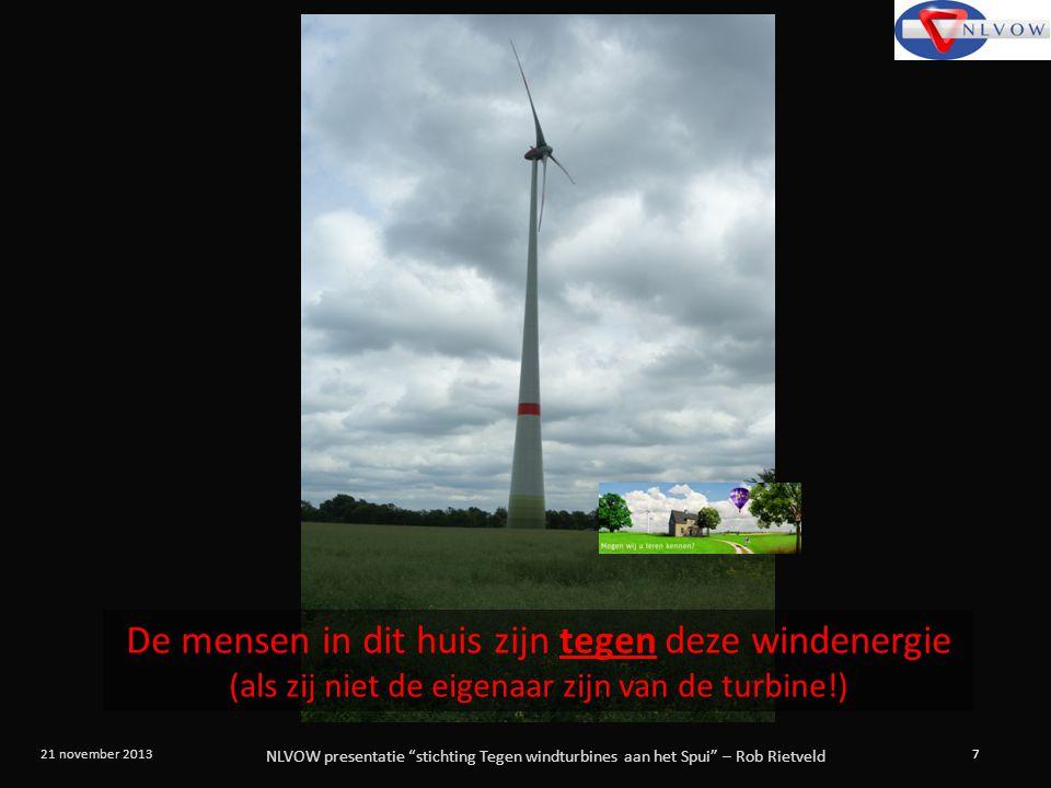 """NLVOW presentatie """"stichting Tegen windturbines aan het Spui"""" – Rob Rietveld 7 21 november 2013 De mensen in dit huis zijn tegen deze windenergie (als"""