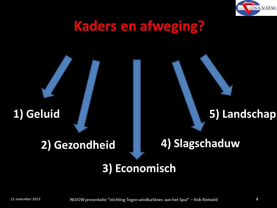 """NLVOW presentatie """"stichting Tegen windturbines aan het Spui"""" – Rob Rietveld 8 21 november 2013 Kaders en afweging? 1) Geluid 2) Gezondheid 3) Economi"""