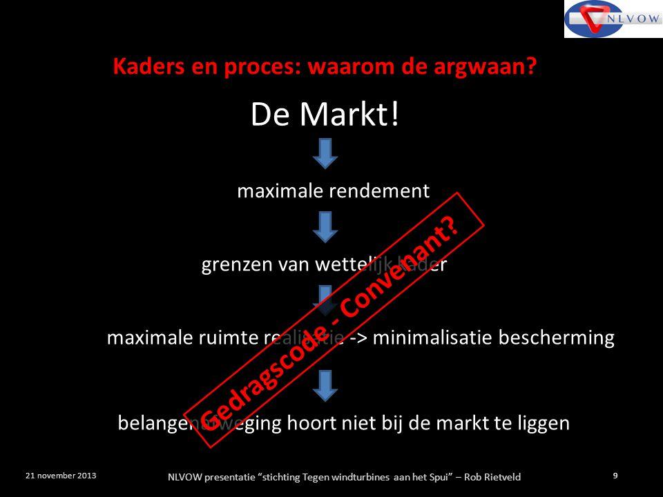 """NLVOW presentatie """"stichting Tegen windturbines aan het Spui"""" – Rob Rietveld 9 21 november 2013 maximale rendement De Markt! grenzen van wettelijk kad"""